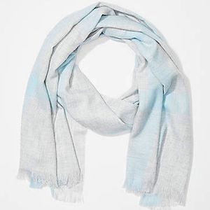 LOFT Windowpane Blanket Scarf Soft Gray and Blue